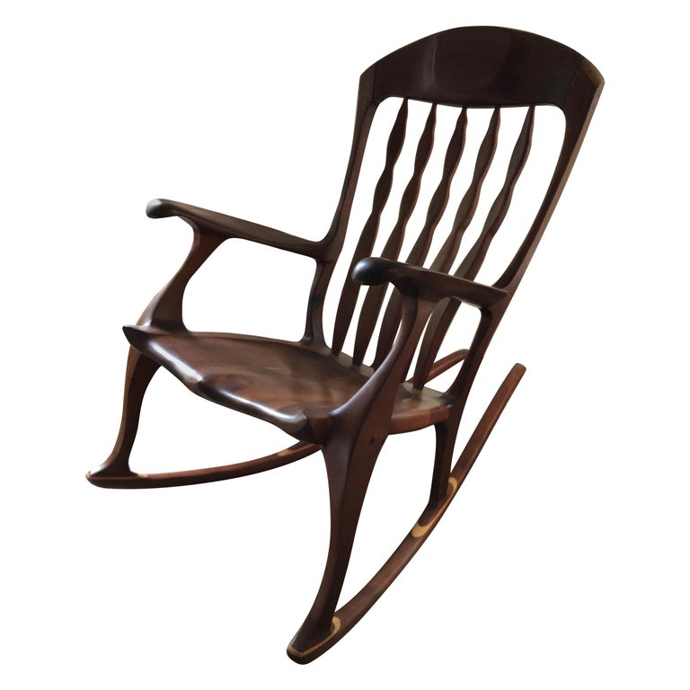 Sam Maloof Style Mid-Century Modern Rocking Chair, Signed Bill Kappel