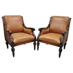 Sam Moore Brown Saddle Leather Carved Wood Regency Lounge Arm Chairs, a Pair