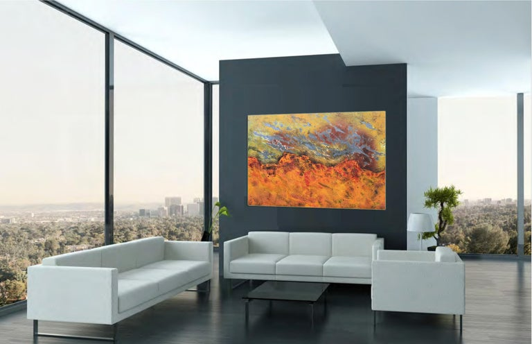 Burns Rise by Sam Peacock - Contemporary abstract, burned painting on steel  For Sale 1