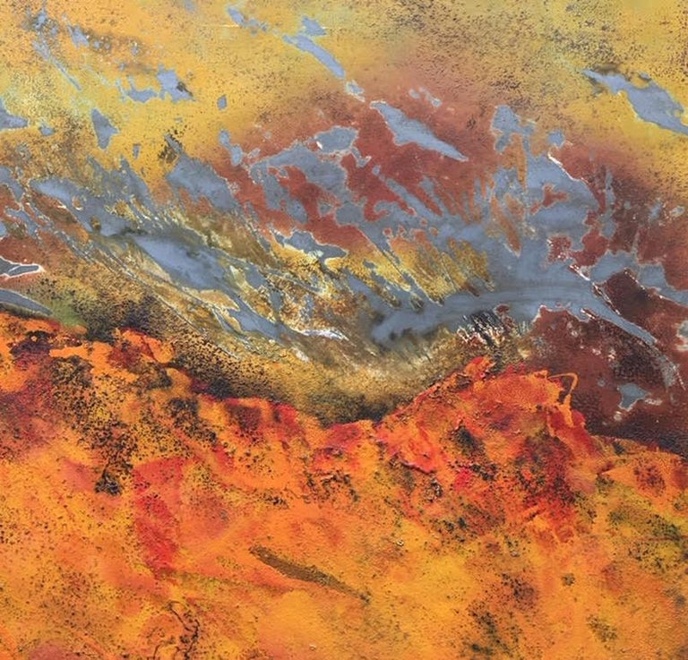 Burns Rise by Sam Peacock - Contemporary abstract, burned painting on steel  For Sale 2