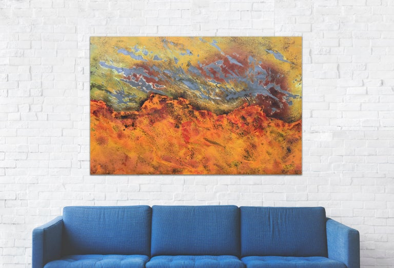 Burns Rise by Sam Peacock - Contemporary abstract, burned painting on steel  For Sale 3