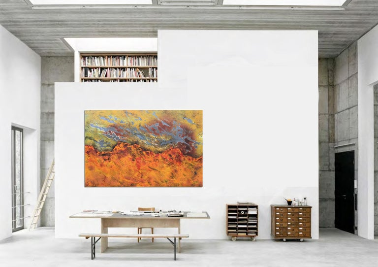 Burns Rise by Sam Peacock - Contemporary abstract, burned painting on steel  For Sale 4