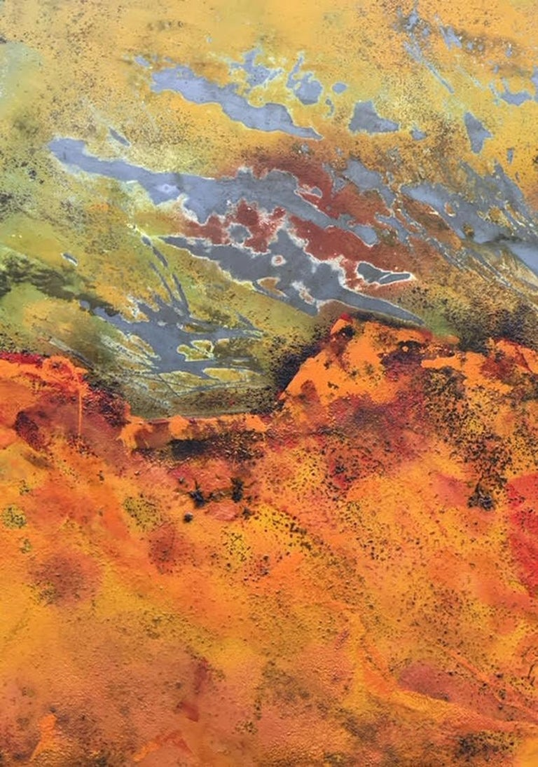 Burns Rise by Sam Peacock - Contemporary abstract, burned painting on steel  For Sale 5