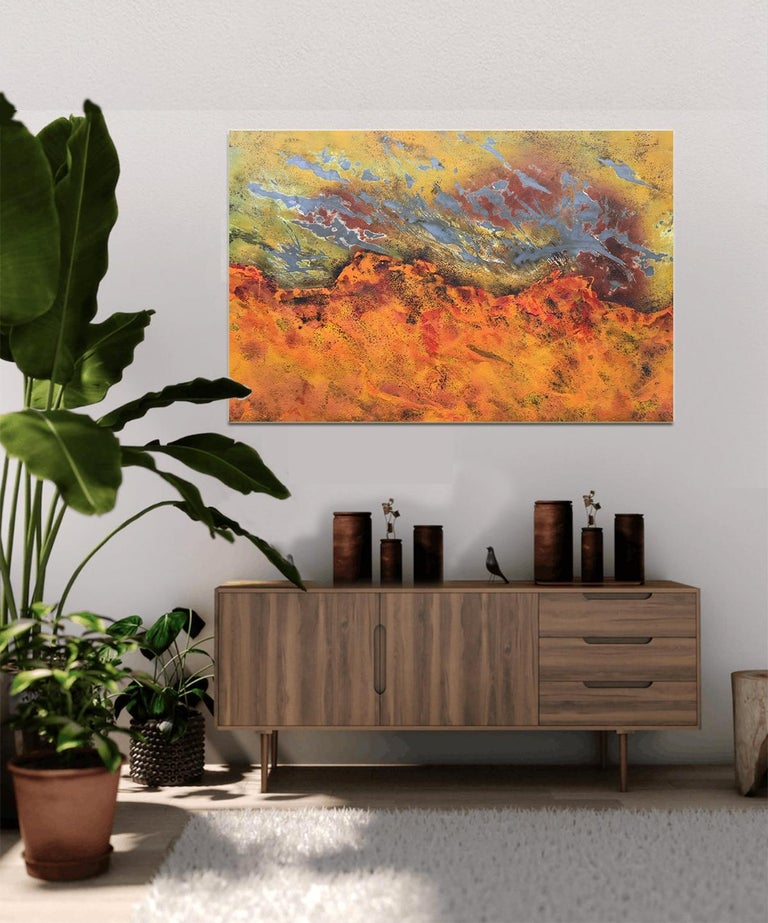 Burns Rise by Sam Peacock - Contemporary abstract, burned painting on steel  For Sale 6