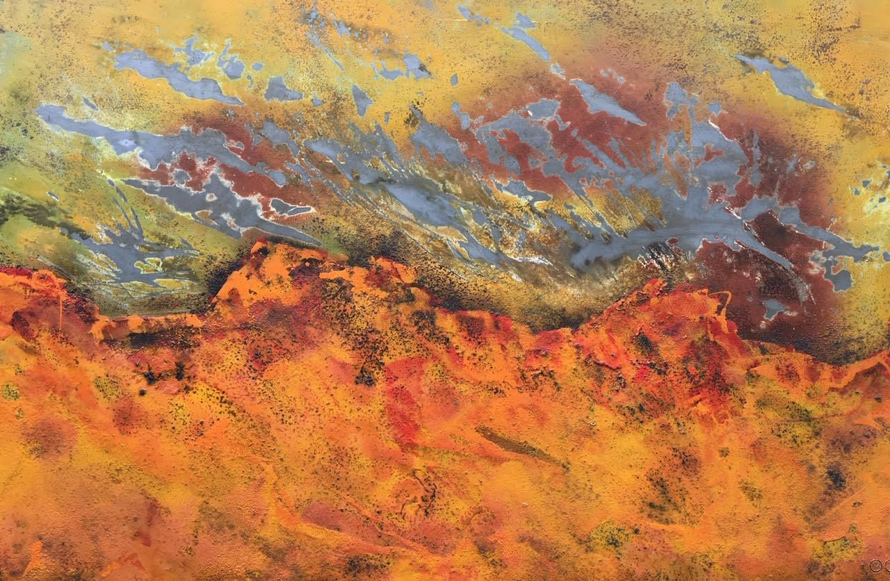 Burns Rise by Sam Peacock - Contemporary abstract, burned painting on steel