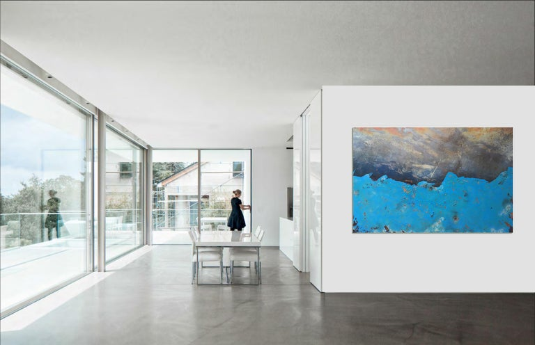 Morlais by Sam Peacock - Contemporary abstract, Blue Landscape on steel  For Sale 1