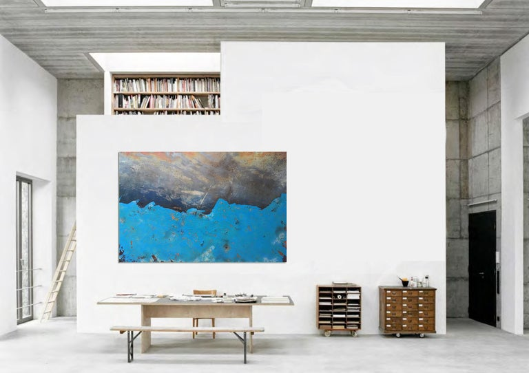 Morlais by Sam Peacock - Contemporary abstract, Blue Landscape on steel  For Sale 2