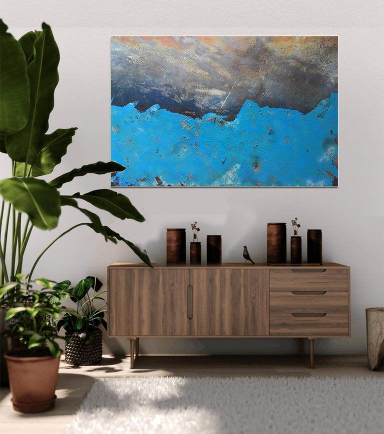 Morlais by Sam Peacock - Contemporary abstract, Blue Landscape on steel  For Sale 3