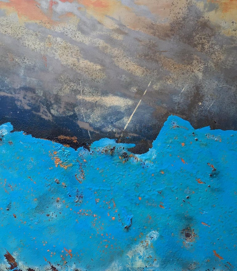 Morlais by Sam Peacock - Contemporary abstract, Blue Landscape on steel  For Sale 4