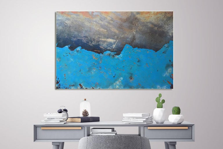 Morlais by Sam Peacock - Contemporary abstract, Blue Landscape on steel  For Sale 5