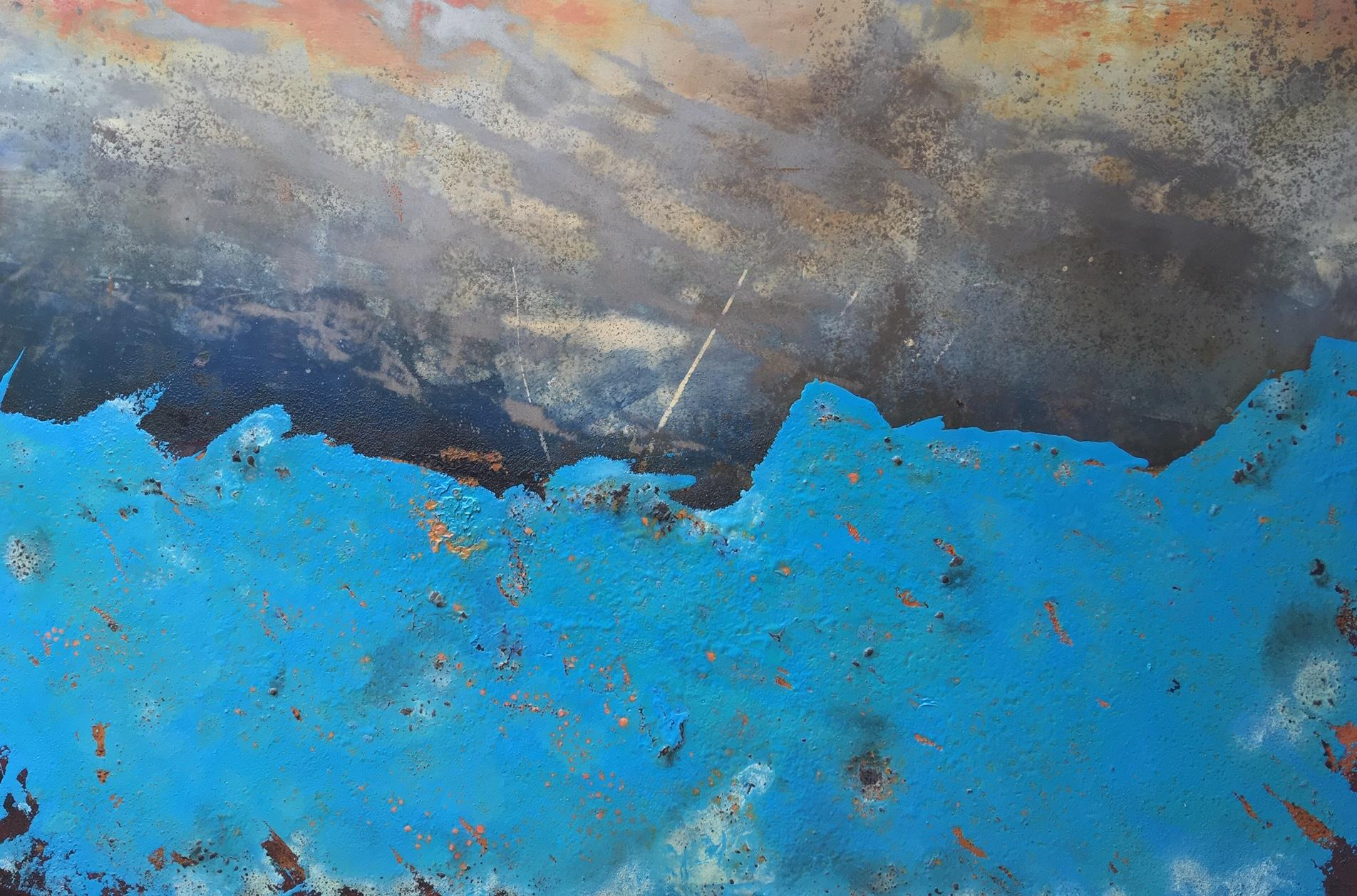 Morlais by Sam Peacock - Contemporary abstract, Blue Landscape on steel