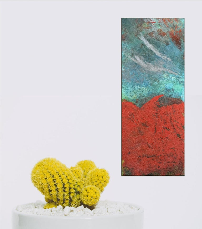 Paynton - Oil, Coffee and Parafin on steel, abstract landscape painting - Abstract Painting by Sam Peacock