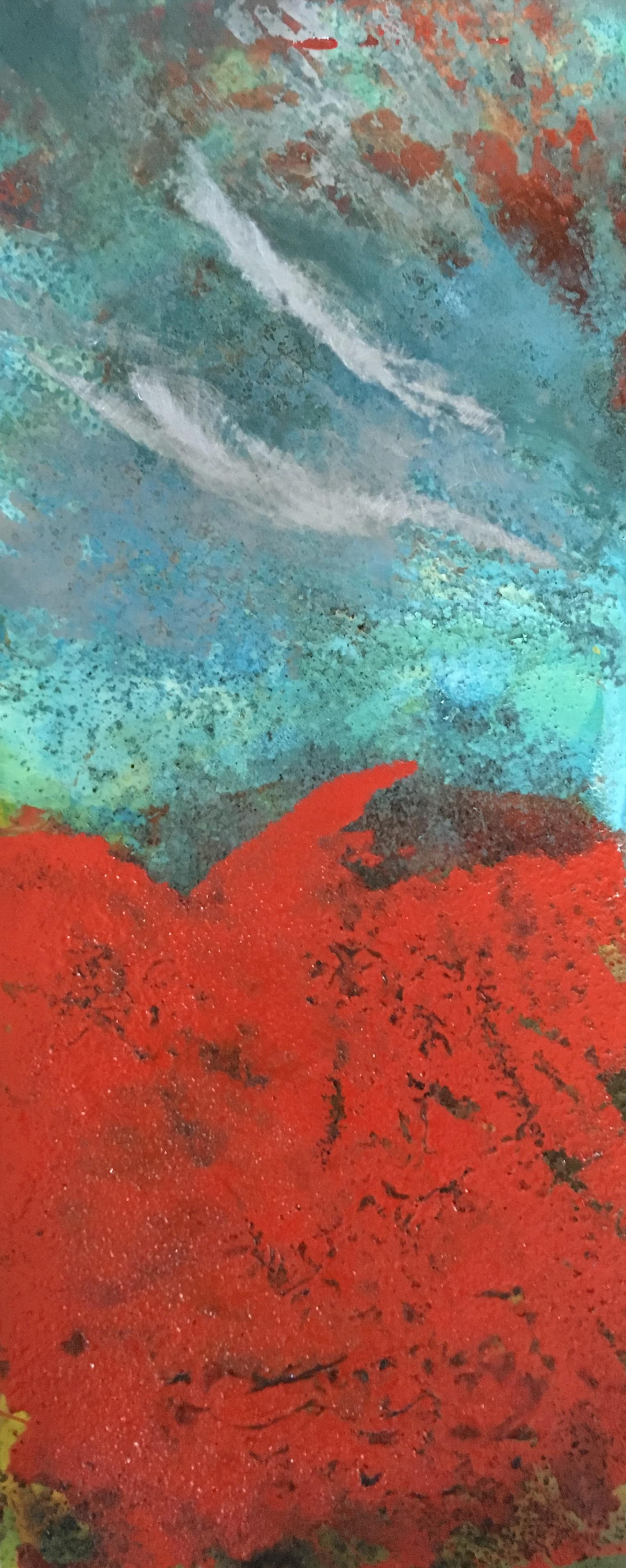 Paynton - Oil, Coffee and Parafin on steel, abstract landscape painting