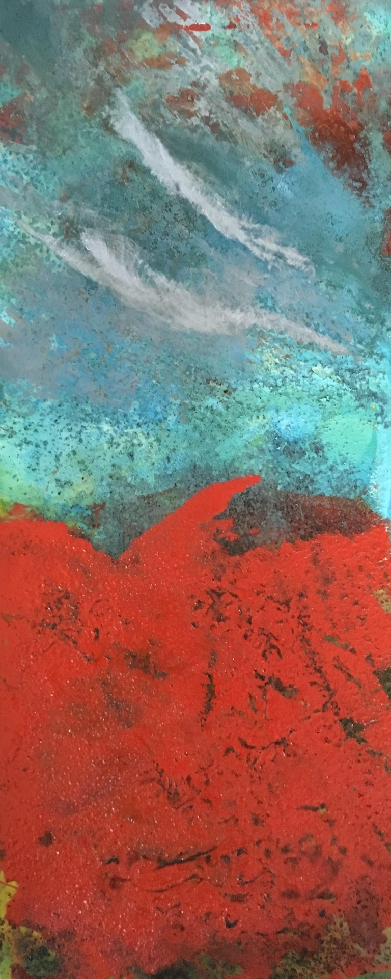 Sam Peacock Abstract Painting - Paynton - Oil, Coffee and Parafin on steel, abstract landscape painting