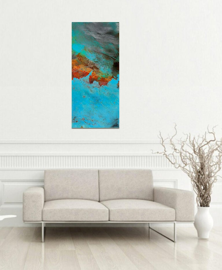 VIctoria by Sam Peacock Contemporary Oil on steel, abstract landscape painting For Sale 7