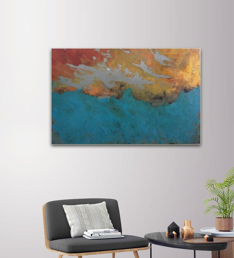 Westward - Oil, Coffee and Parafin on steel, abstract landscape painting - Abstract Painting by Sam Peacock