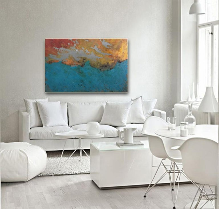 Westward - Oil, Coffee and Parafin on steel, abstract landscape painting For Sale 1