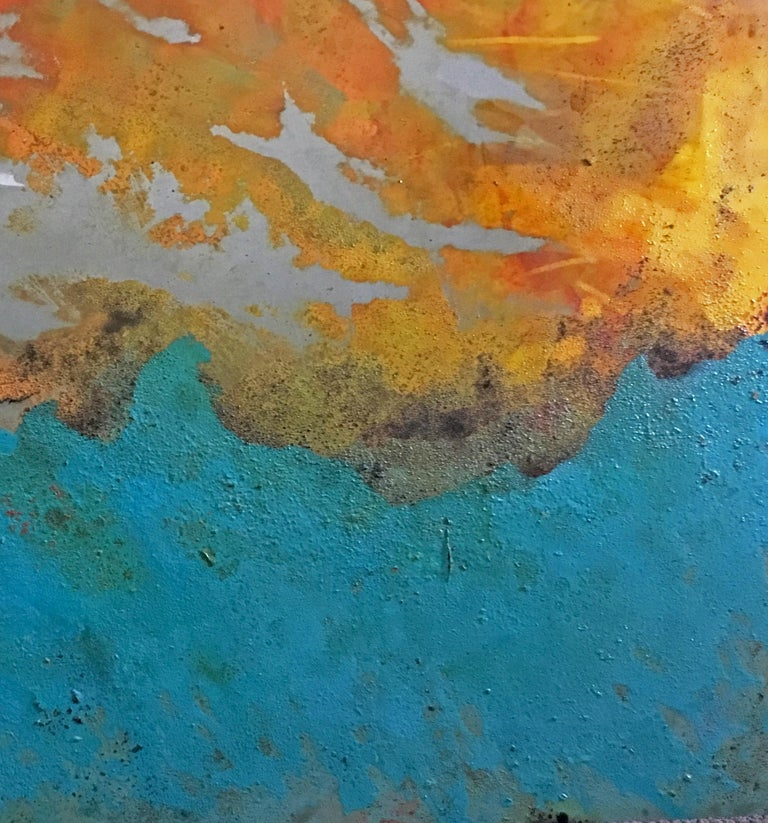 Westward - Oil, Coffee and Parafin on steel, abstract landscape painting For Sale 2