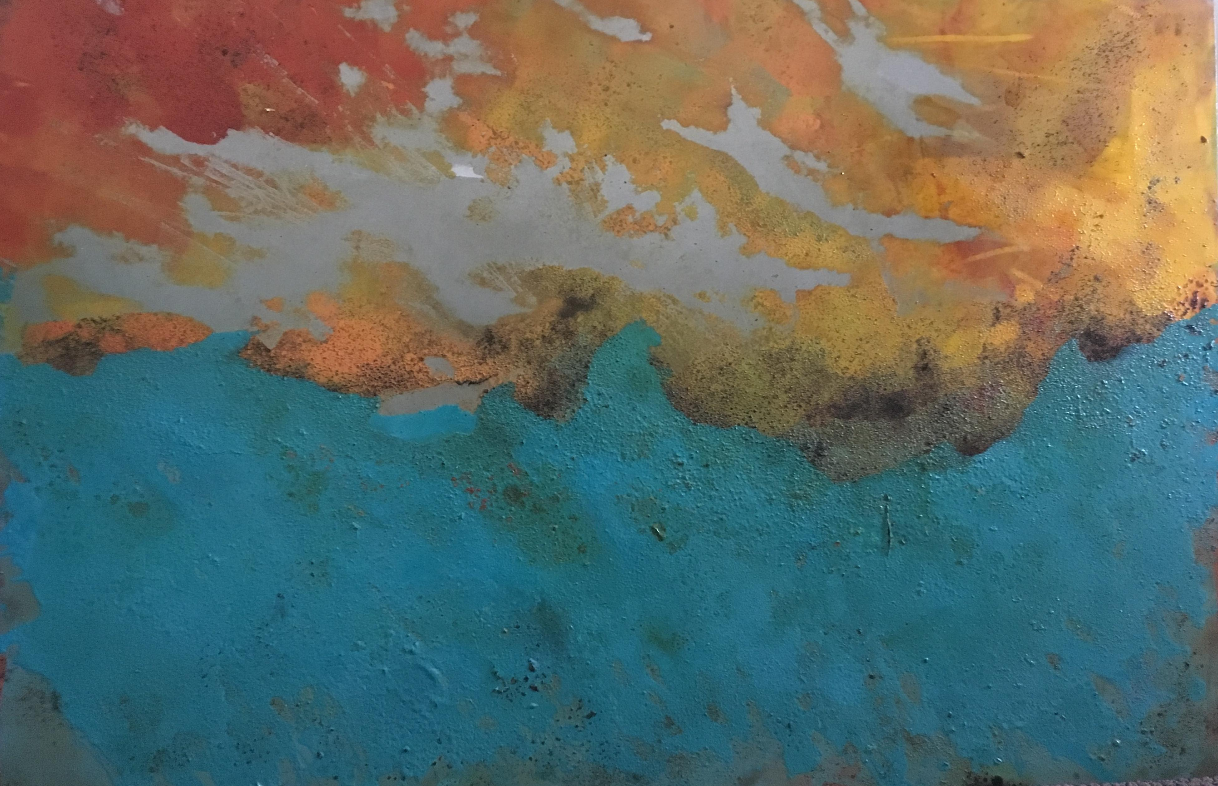 Westward - Oil, Coffee and Parafin on steel, abstract landscape painting