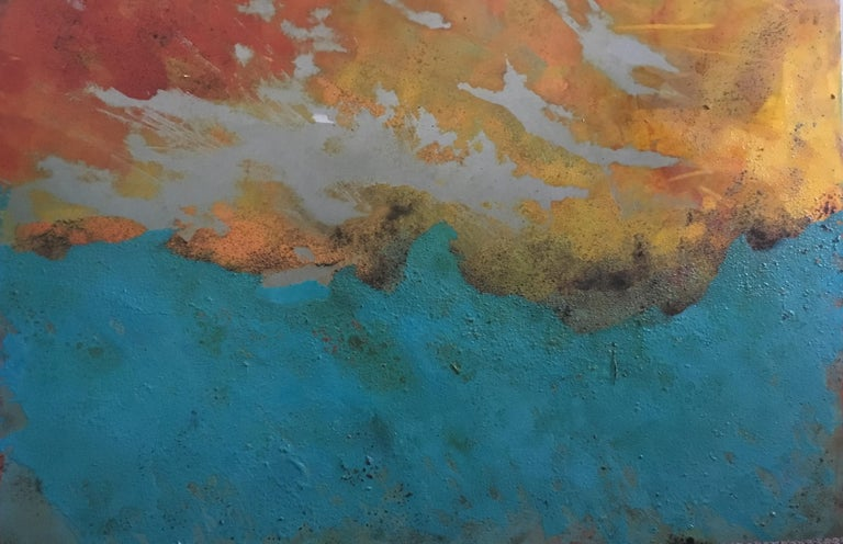 Westward - Oil, Coffee and Parafin on steel, abstract landscape painting - Painting by Sam Peacock
