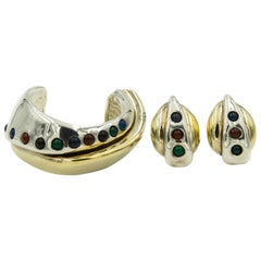 Sam Philipe Sterling Silver Gold Vermeil Modernist Cuff Bracelet Earrings Set