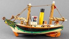 British Folk Art Whimsical Enamel Painted Carved Wood Model Ship Toy Sculpture