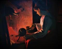 """Making Tea"", interior kitchen scene of a Swedish woman, original oil on canvas"