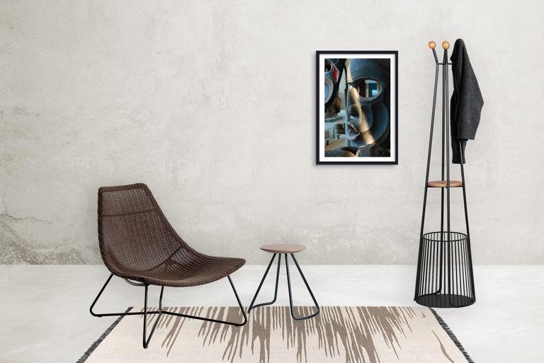 Modern Sama Coat Rack Wire Base, Contemporary Sculptural Minimalist Oak & Black Metal For Sale