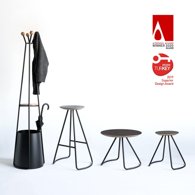 Turkish Sama Coat Rack Wire Base, Contemporary Sculptural Minimalist Oak & Black Metal For Sale
