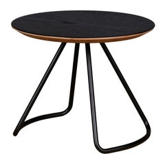 Sama Coffee Table, Contemporary Modern Minimalist Black Oak & Black Metal