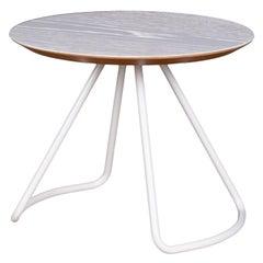 Sama Coffee Table, Contemporary Modern Minimalist White Oak & White Metal