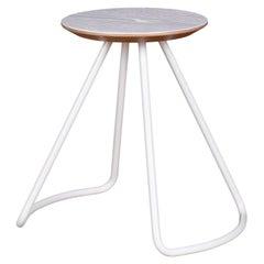 Sama Stool/Table, Contemporary Modern Minimalist White Oak & White Metal