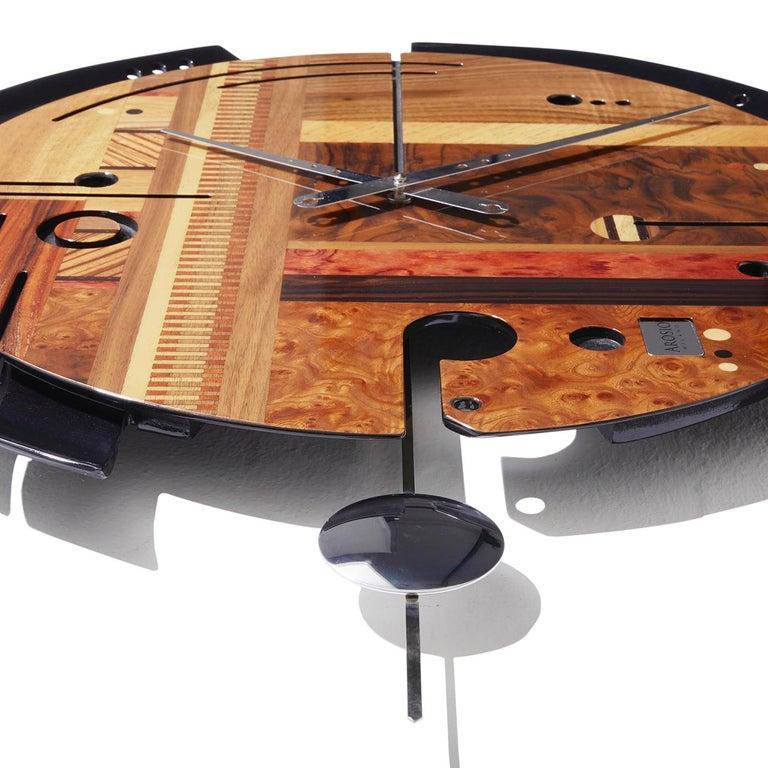 Italian Samada Brown Clock by Arosio Milano For Sale