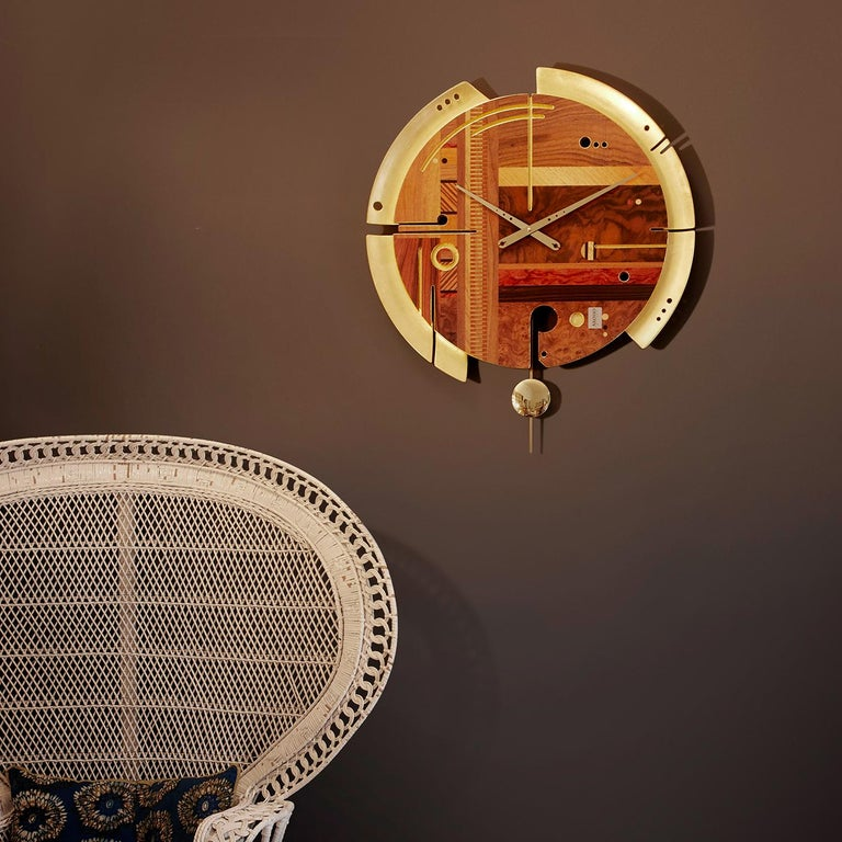 Italian Samada Gold Special Edition Clock by Arosio Milano For Sale