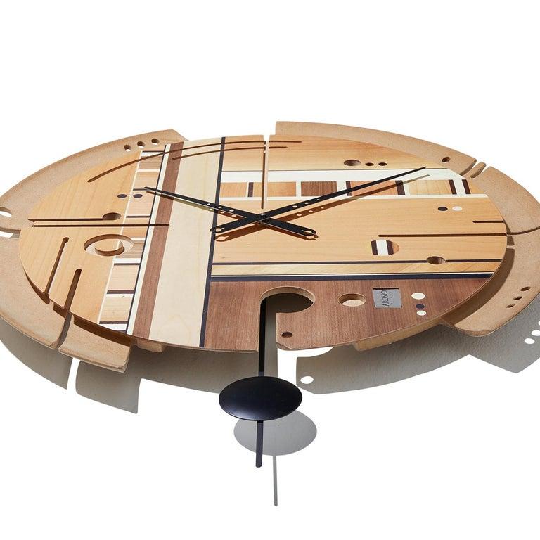 Italian Samada Natural Clock by Arosio Milano For Sale