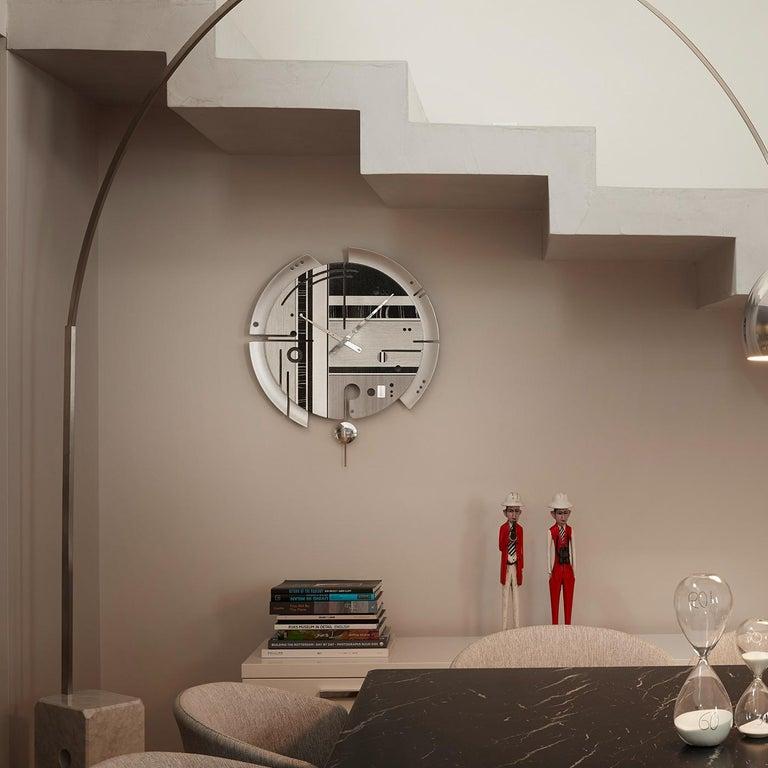 Zebra Wood Samada Silver Special Edition Clock by Arosio Milano For Sale