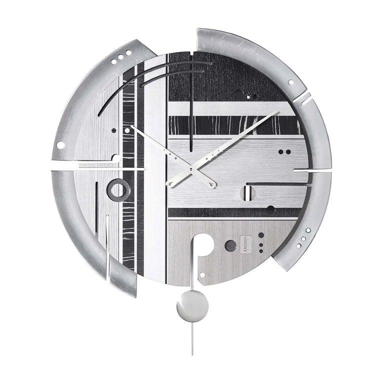 Samada Silver Special Edition Clock by Arosio Milano For Sale