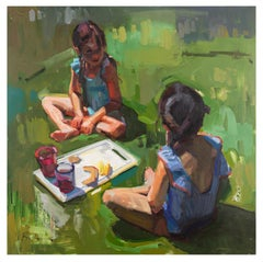 Snack Break - Children Eating a Summer Lunch Impressionistic Oil Painting Green