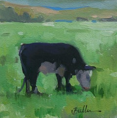 """""""Early Morning Misty Grazing,"""" Oil Painting"""