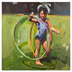 Two Hula Hoops - Painting of Young Child with Hula Hoops Impressionistic Oil