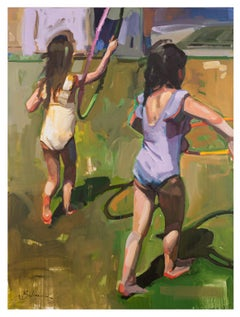 Watch Me - Oil Figure Painting of Children Playing Hula-Hoop Impressionistic