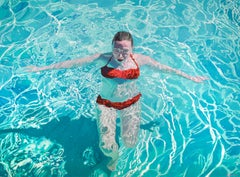 Before the Sun Goes Down: Figurative Photorealist Painting of a Woman in Water