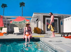 Palm Springs: Figurative Painting of Swimmers in a California Poolside Landscape