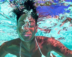 Rising Tides: Photorealist Figurative Painting of a Woman in Aqua Pool Water