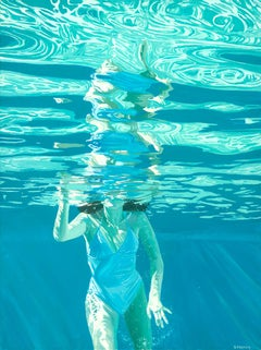 Soak In Soundless: Figurative Photorealist Painting of Swimmer in Aqua Pool