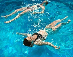 Weightless, Timeless: Figurative Photorealist Painting of Swimmers in Water