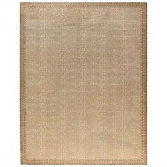 Samarkand Design Handmade Wool Rug in Beige, Blue, and Gold