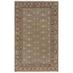 Samarkand Midcentury Blue and Brown Handwoven Wool Rug