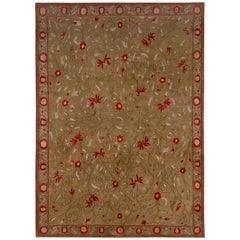 Samarkand Style Rug Red Green European Wool Silk Floral by Rug & Kilim