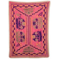 Samarkand Suzani Cradle Cover, Uzbekistan, Central Asia, 1950s